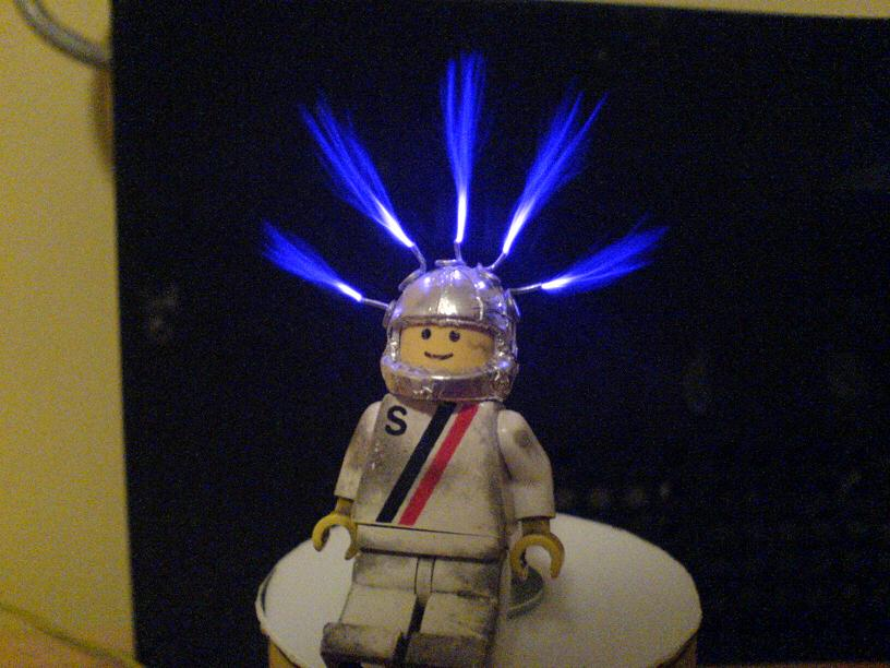 Lego minifig with streamers from helmet