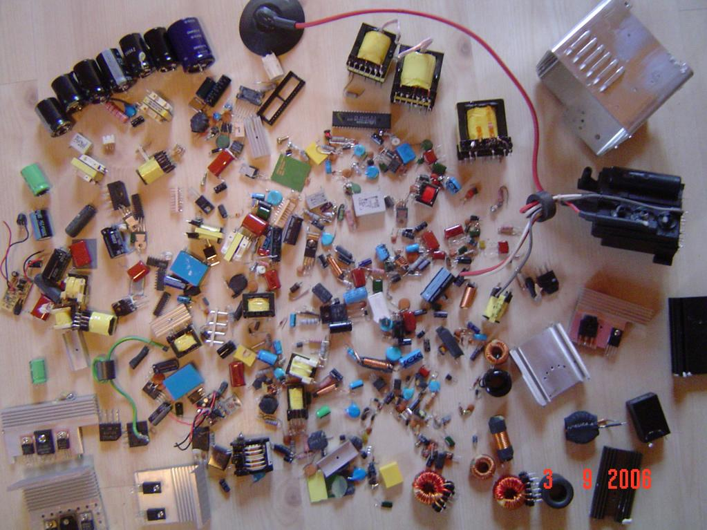 Large amount of parts lying on floor