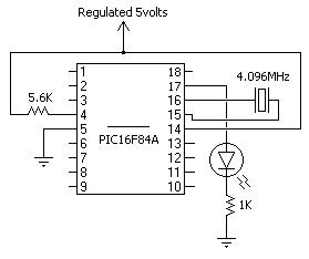 PIC16F84A Blinker Schematic