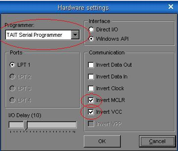 Required settings for ICprog